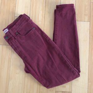 "Madewell 9"" High Riser Skinny burgundy jeans"
